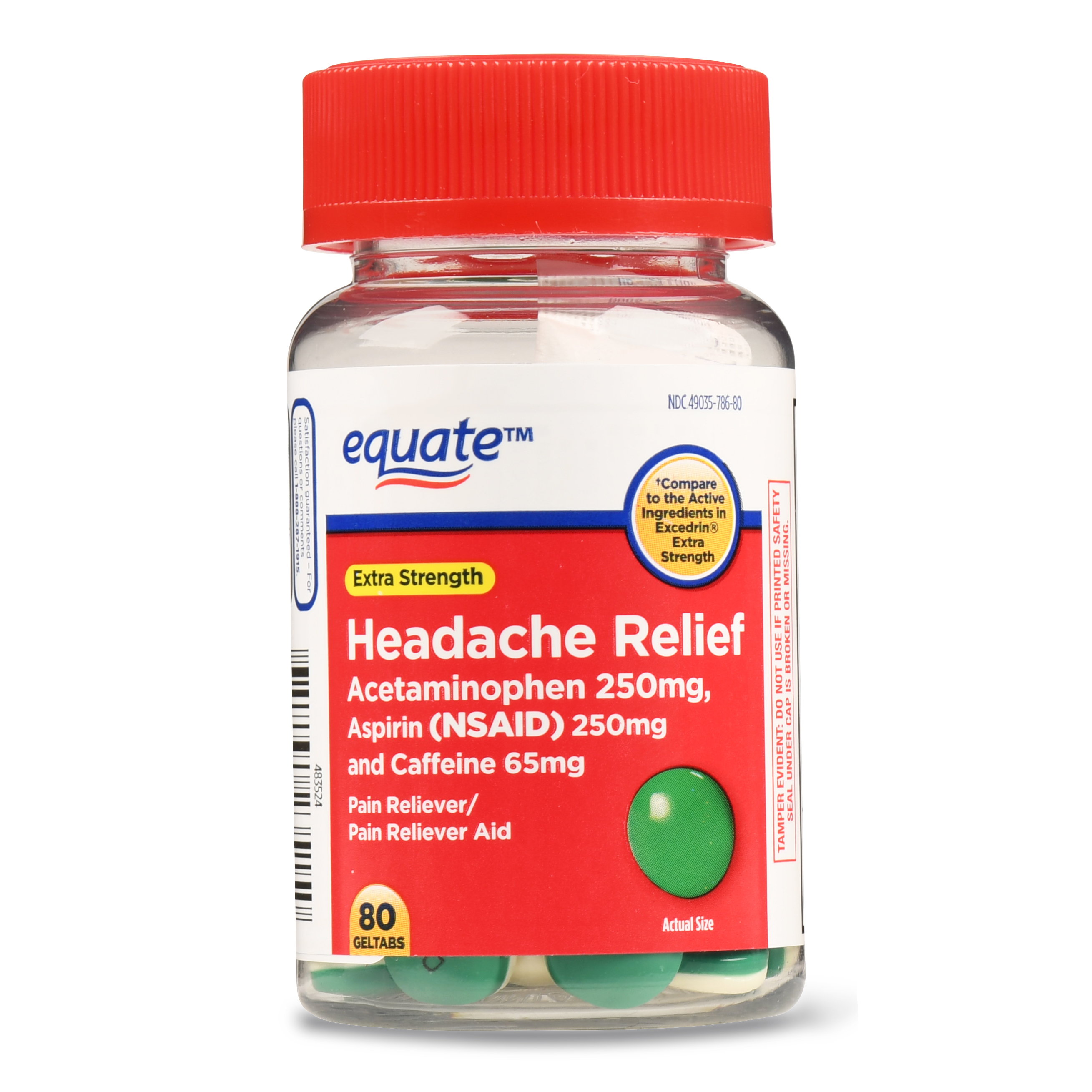 Equate Headache Relief Geltabs, Extra Strength, 250mg, 80 Count