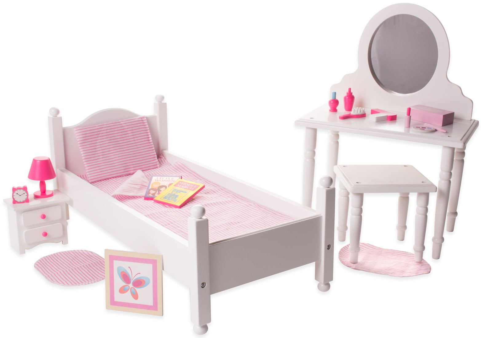 Eimmie 18 Inch Doll Furniture Single Bed & Vanity with Accessories Bedroom Pack by