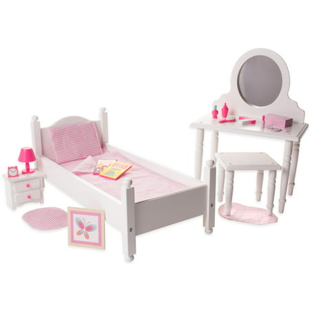 Eimmie 18 Inch Doll Furniture Single Bed Vanity With Accessories Bedroom Pack