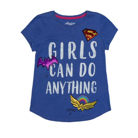 Wonder Woman, Supergirl, and Batgirl Logos Sequin Graphic T-Shirt (Little Girls & Big Girls)