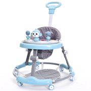 Baby Walker Anti Rollover Learning Walking Toy Car Free Installation for Baby 6-18 Months(24in-35in) Toy Blue with Handle