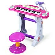 Gymax Kids Electronic Keyboard Piano MP3 Input 37 Key Microphone Stool Toy