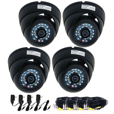Vandal Proof Infrared 36 Led - VideoSecu CCTV 4 Infrared Day Night Vandal Proof Security Cameras Surveillance 1/3'' CCD with Powers and Cables B4M