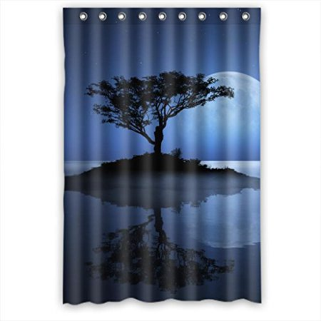 HelloDecor Lonely Water Tree And Bright Round Moon Scene Shower Curtain Polyester Fabric Bathroom Decorative Curtain Size 48x72 Inches ()