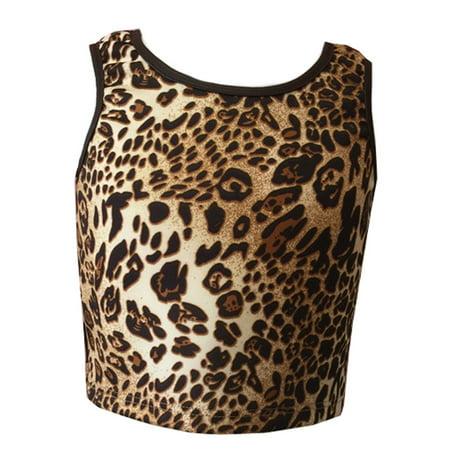 Girls Light Brown Leopard Print Short Waist Sleeveless Tank Top Brown Girls Tank Top