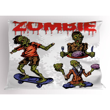 Zombie Pillow Sham Dead Man Eating Brain Cannibal Meditating Skate Boarding Graphic Pattern, Decorative Standard Size Printed Pillowcase, 26 X 20 Inches, Olive Green Red Dust, by - Kit Dust Olive