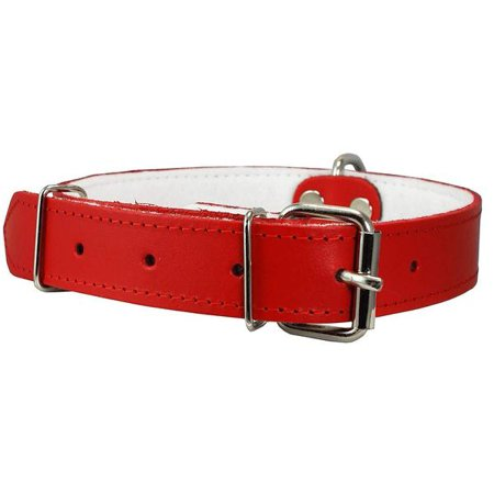 Dogs My Love Genuine Leather Felt Padded Dog Collar Red