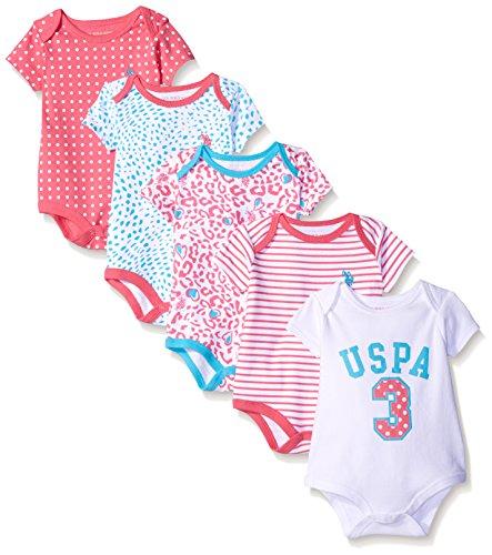 U.S. Polo Assn. Baby Girls' 5 Piece Bodysuit Set, Hot Pink Combo, 6 Months