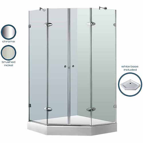 "Vigo 47-5/8"" x 47-5/8"" Frameless Neo-Angle 3/8"" Clear/Brushed Nickel Shower Enclosure with Base"
