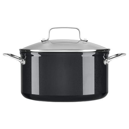 Kitchenaid Hard Anodized Nonstick 6.0-Quart Low Casserole With Lid, Black Sapphire (Kc3H160Lcbe)
