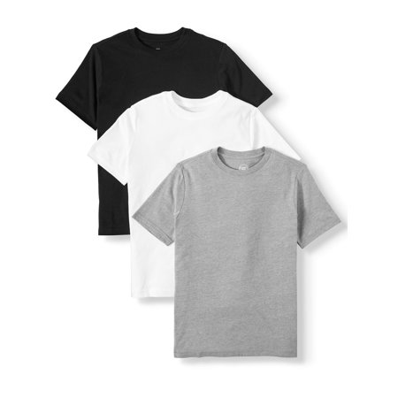 Wonder Nation Short Sleeve Crew Neck T-Shirt, 3-Pack (Little Boys, Big Boys, and Husky) ()
