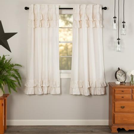 Light Creme Antique White Farmhouse Curtains Simplicity Flax Rod Pocket Cotton Linen Blend Tie Back(s) Flax Solid Color Panel