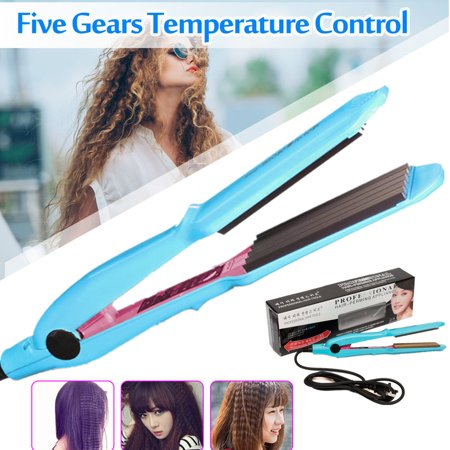 Grtsunsea Professional Hair Crimper Curler Wand Dry&Wet Use Ceramic Titanium Curling Iron with 5-Speed Temperature