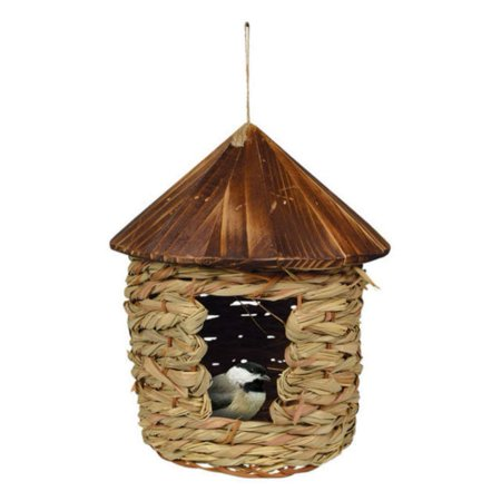 - SE10355 Large Hanging Grass Twine House with Roof (Set of 1), Songbird Essentials Large Organic Roosting Pocket with Cedar Roof By Songbird Essentials