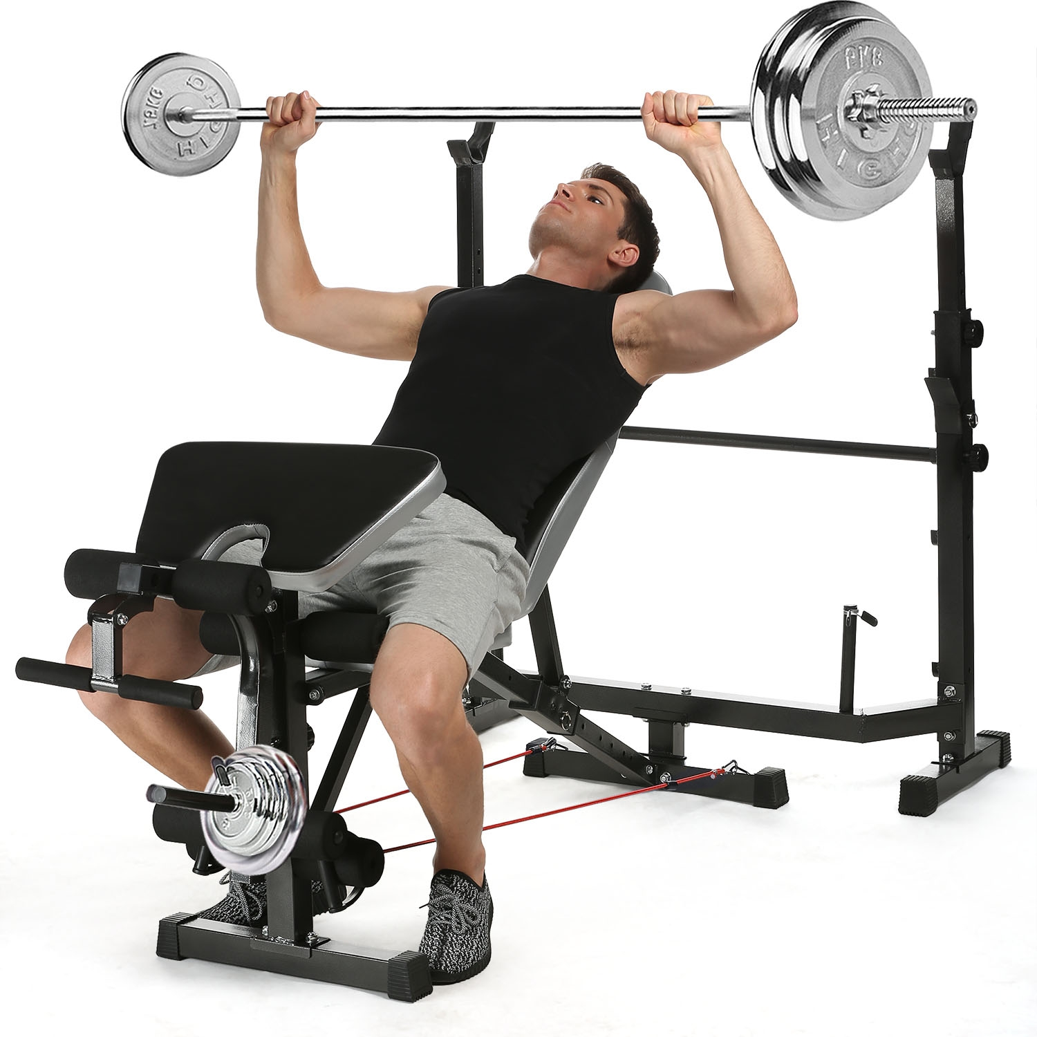Olympic Weight Bench Multi-Function Workout Bench Set with Adjustable Uprights  Rack