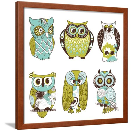 Collection of Six Different Owls Framed Print Wall Art By Alisa Foytik