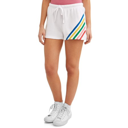 Grey Stripe Short (No Boundaries Juniors Rainbow Striped Soft Fleece Short)