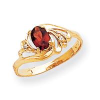 14k 6x4mm Oval Garnet AA Diamond ring by Dazyle