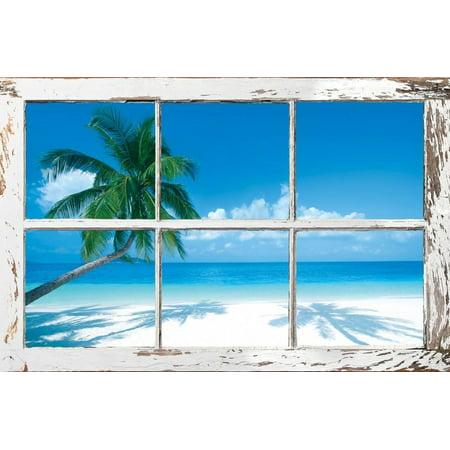 Beach Vintage Poster (Tropical Beach Window Poster -)