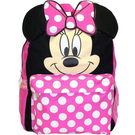 1e261111b0 Disney - Small Backpack - - Minnie Mouse Face Ears New School Bag 625955 -  Walmart.com