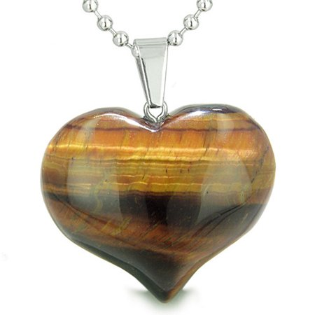 Amulet Large Puffy Heart Red Tiger Eye Gemstone Healing Powers Pendant 22 Inch Necklace