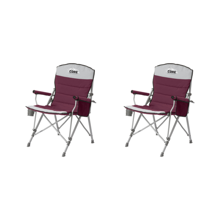 CORE 300 Pound Capacity Polyester Padded Arm Chair with Carry Bag, Gray (2 Pack)