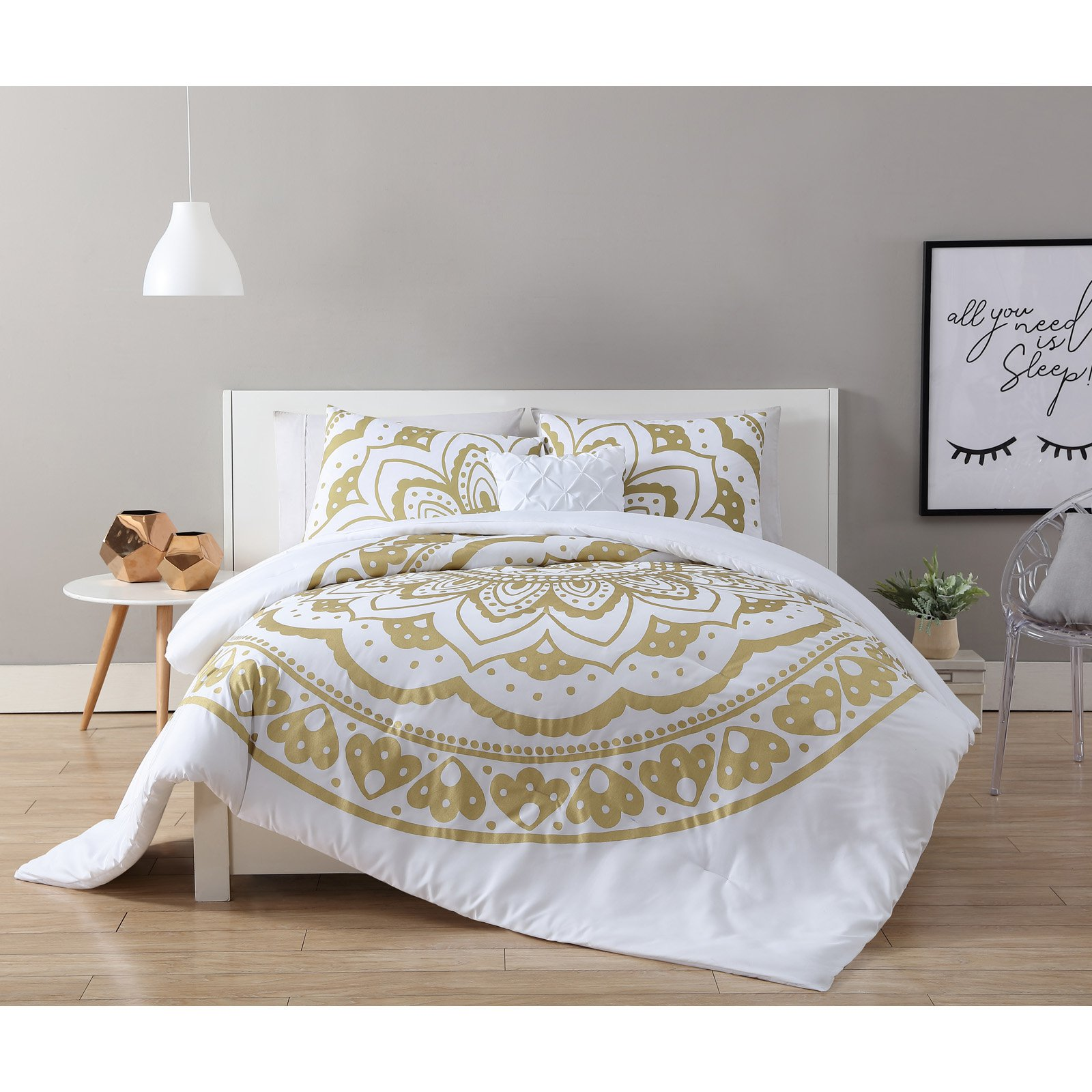 VCNY Home Karma Gold/White 3/4-Piece Duvet Cover Bedding Set, Shams and Decorative Pillow Included