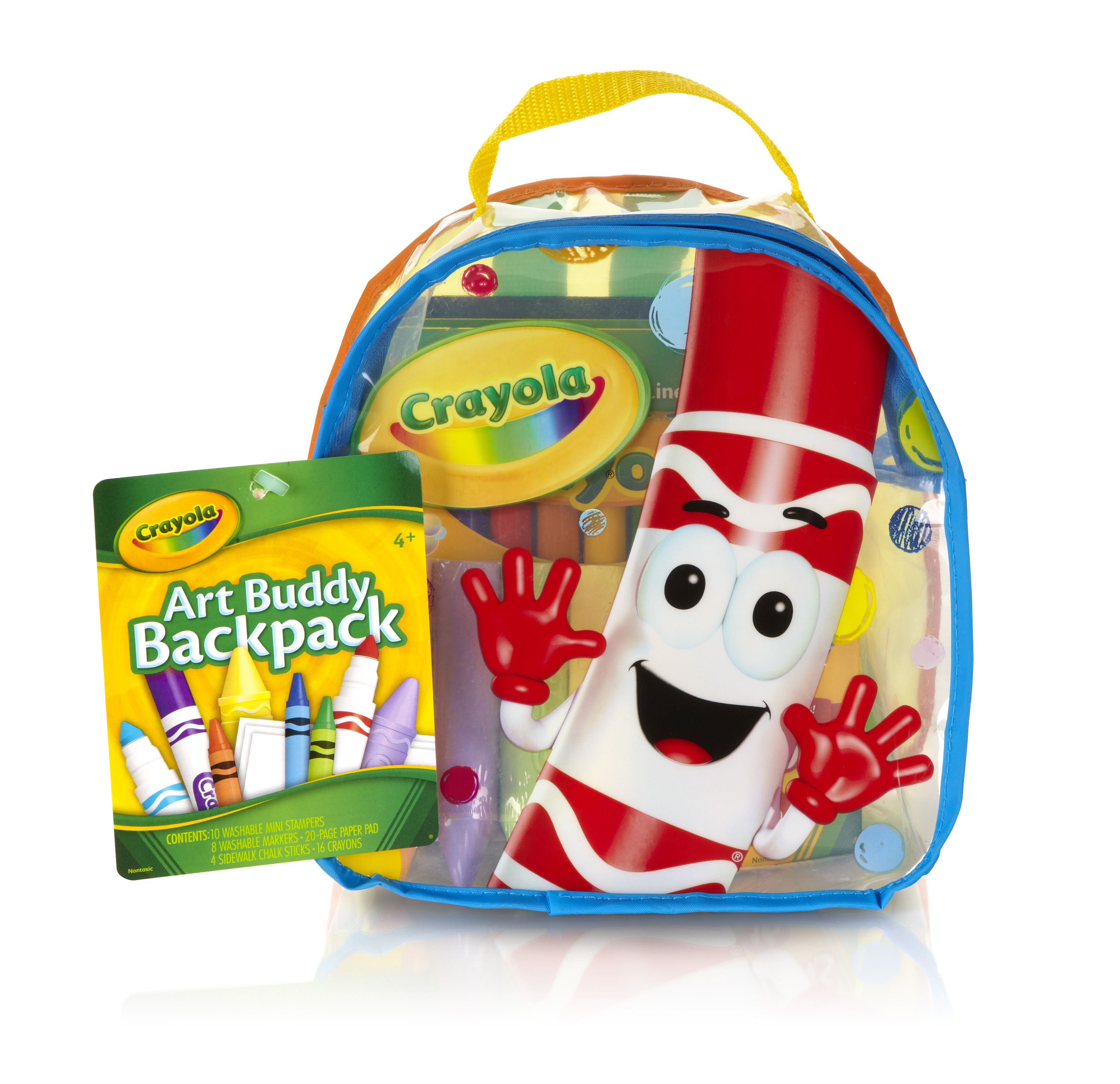 Crayola Art Buddy Clear Backpack includes Crayons, Markers, and Chalk