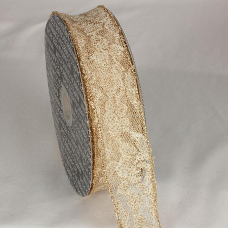Delicate Gold Lace Wired Craft Ribbon 1.5