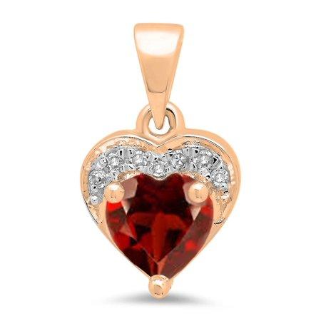 - 0.60 Carat (ctw) 18K Rose Gold Heart Cut Garnet & Round Cut White Diamond Ladies Heart Pendant