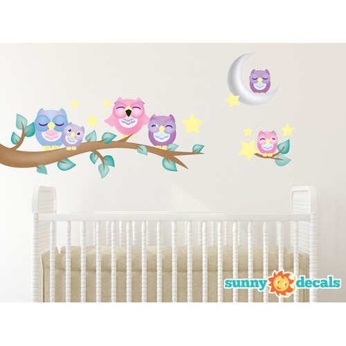 Sunny Decals Owl Fabric Wall Decal