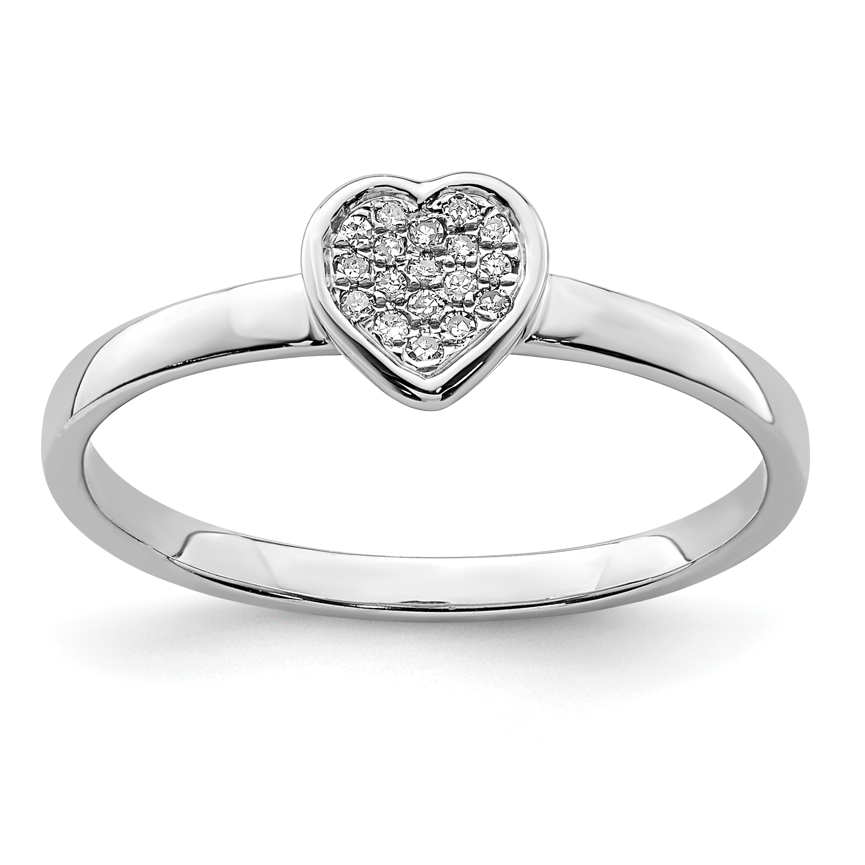 925 Sterling Silver White Diamond Stackable Band Ring Size 7.00 Fine Jewelry Gifts For Women For Her - image 2 of 2