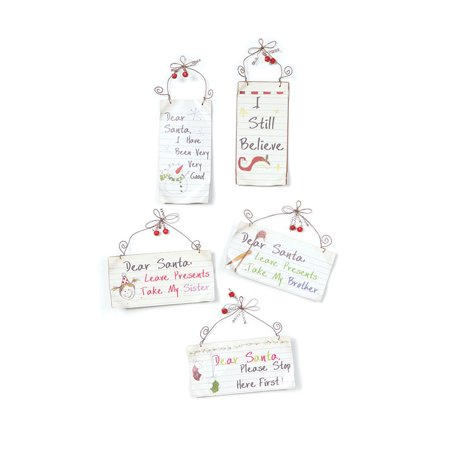 - Club Pack of 10 White and Red Dear Santa Note Christmas Ornaments 7