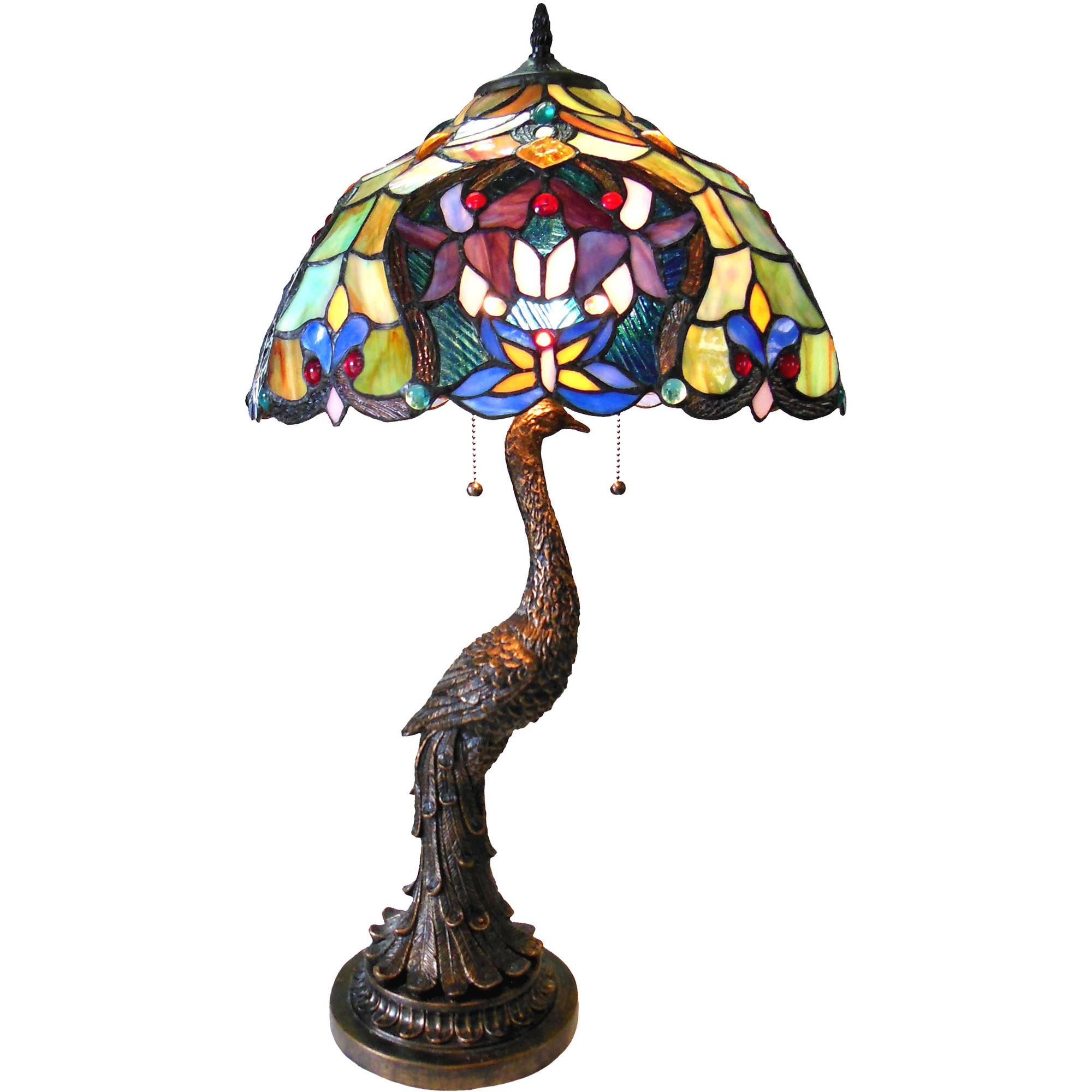 """Chloe Lighting Persia Tiffany-Style 2-Light Floral Table Lamp with 17"""" Shade"""