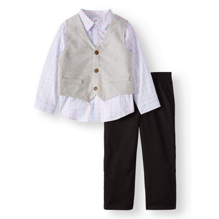 Long Sleeve Button Down, Vest, & Pants, 3pc Outfit Set (Toddler - Easter Suit