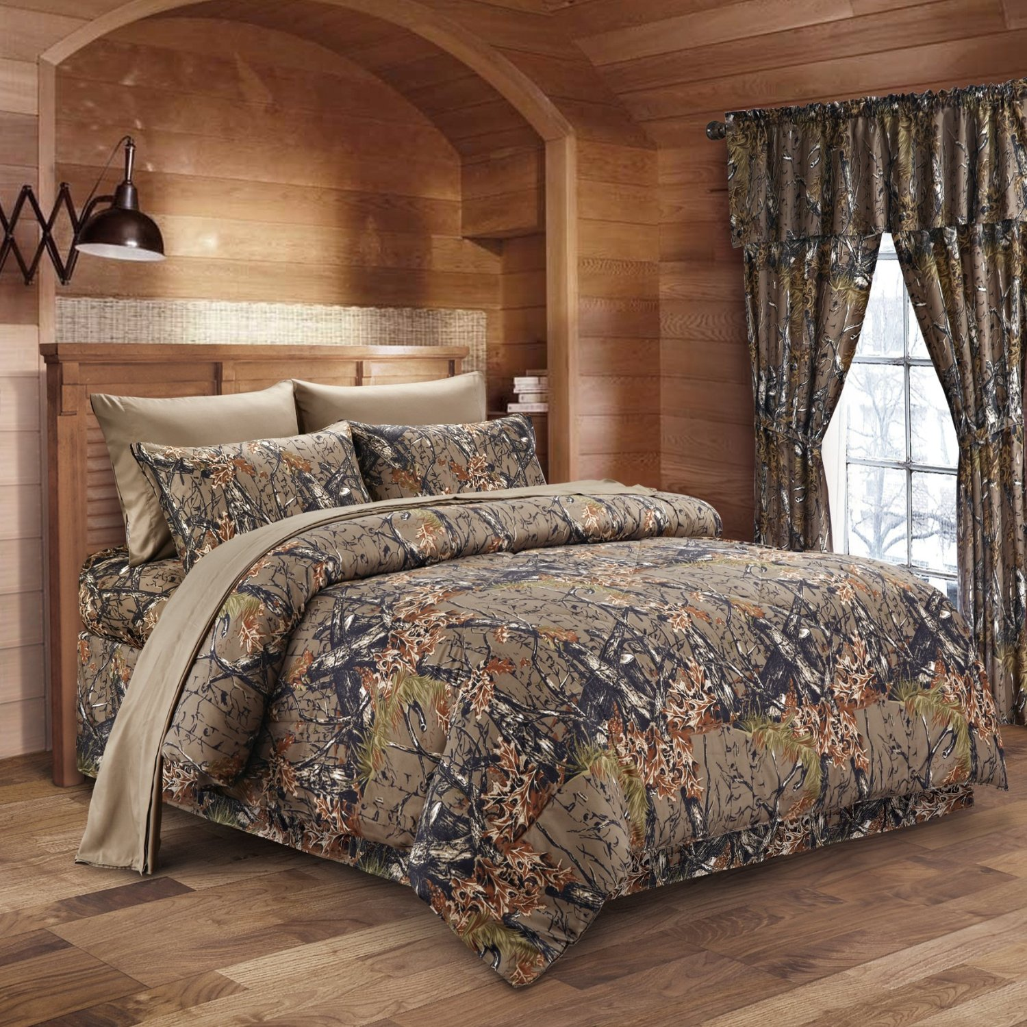 The Woods Natural Green Camouflage Queen 8pc Premium Luxury Comforter, Sheet, Pillowcases, and Bed Skirt Set by Regal Comfort Camo Bedding Set For Hunters Cabin or Rustic Lodge Teens Boys and Girls