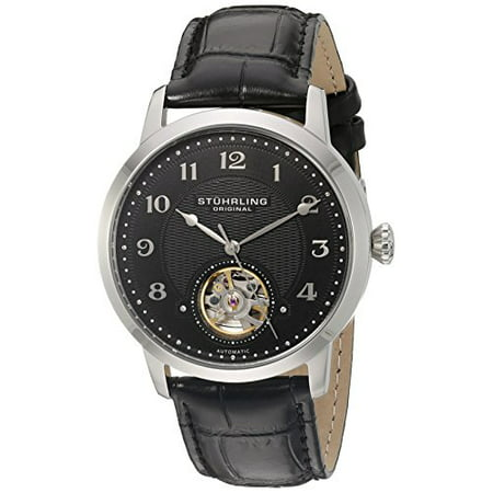 Stuhrling Original Men's 'Legacy' Stainless Steel and Black Leather Automatic Watch (Model: 781.02)