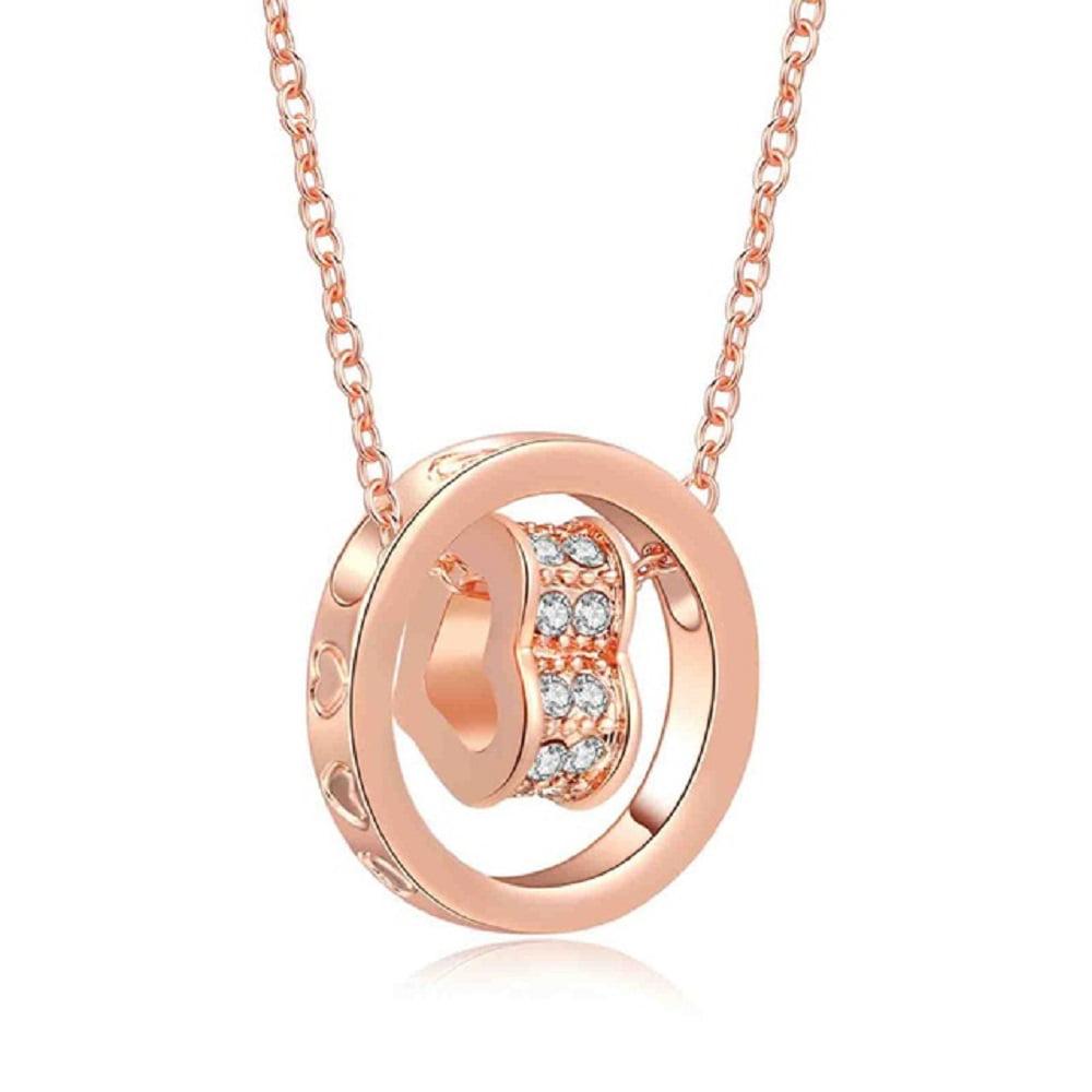 Swarovski Crystal Heart Necklace in Rose Gold