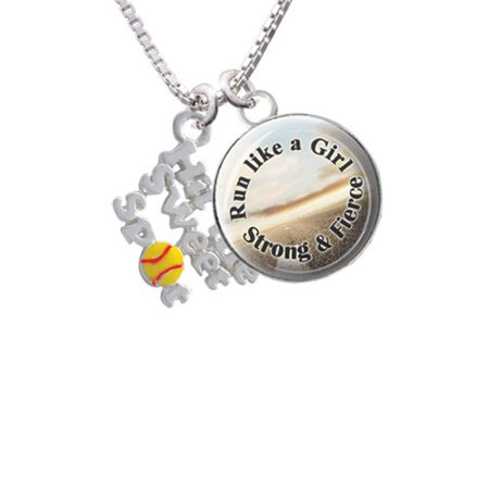 Hit the Sweet Spot with Yellow Softball Run Like a Girl Glass Dome Necklace, 18
