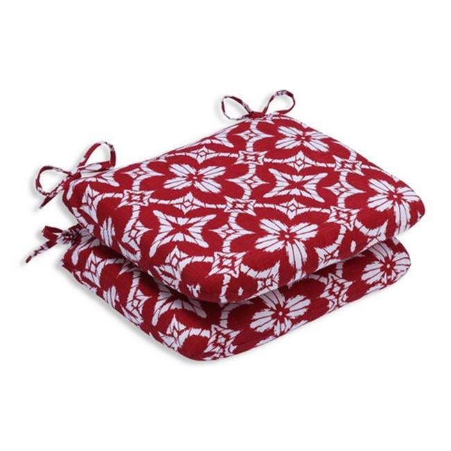Pillow Perfect 586236 Indoor-Outdoor Aspidoras Apple Red Rounded Corners Seat Cushion - Set of 2