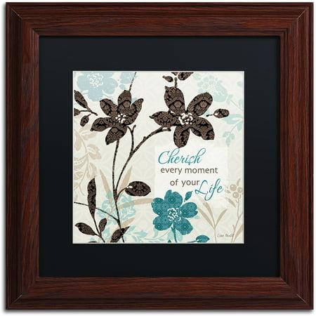"Trademark Fine Art ""Botanical touch Quote I"" Canvas Art by Lisa Audit, Black Matte, Wood Frame"