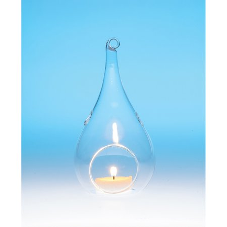 Hanging Glass Candle Holder or Terrarium (6.25-Inch, Teardrop Design) - For Use with Tea Lights - For Home Decor, Parties, and Wedding