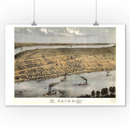 Cairo, Illinois - Panoramic Map (9x12 Art Print, Wall Decor Travel Poster) ()