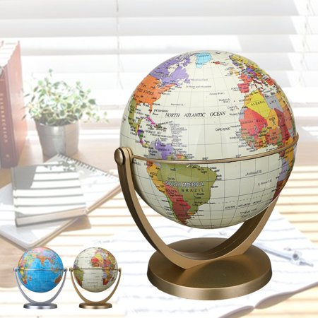 - 10.6cm/ 4.17'' Blue/White Ocean 360 Degree Rotating and Tilt Geography Map Table Desktop Earth Ocean Globe World Geography Table Decor
