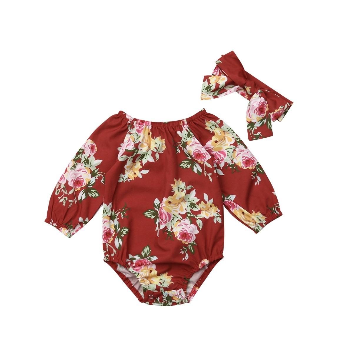 Newborn Baby Girls Flower Romper Bodysuit Jumpsuit Headband Outfits Clothes Set