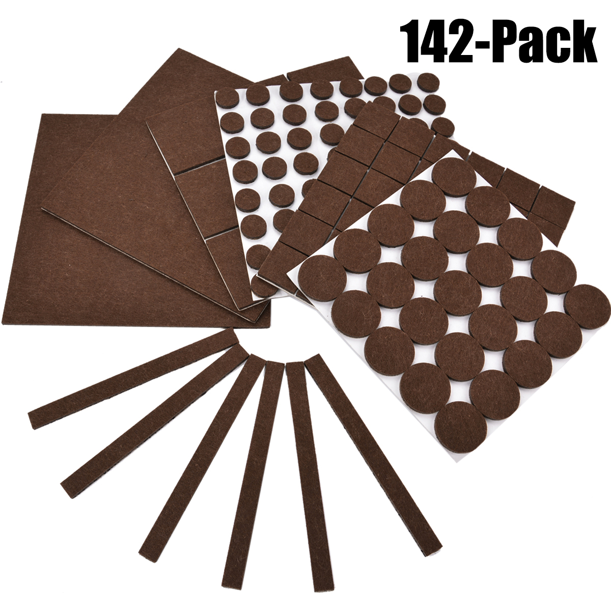 142Pcs Furniture Pads,  Outgeek  Felt Floor Protectors Assorted Size Furniture Pads for Table Desk Chair Legs