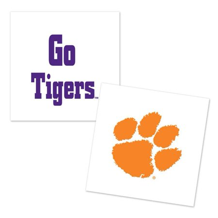 Clemson Tigers Temporary Tattoo - 4 Pack - Tiger Butterfly Tattoo