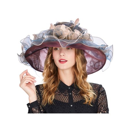 Vbiger Women Foldable Organza Church Derby Hat Ruffles Wide Brim Summer