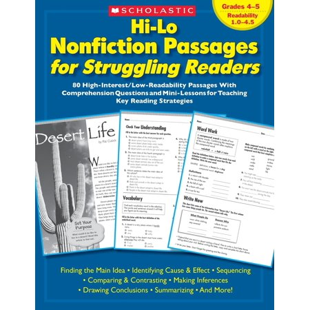 Hi-Lo Nonfiction Passages for Struggling Readers: Grades 4-5 : 80 High-Interest/Low-Readability Passages with Comprehension Questions and Mini-Lessons for Teaching Key Reading