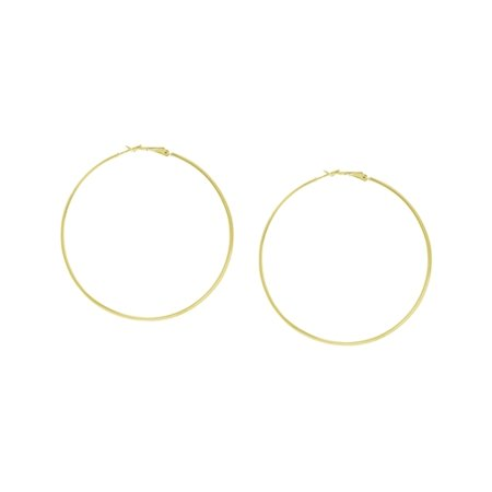 Wedding Band Earrings - 10k Yellow Gold 55mm Wedding Band Ring Hoop Earrings Omega Clasp